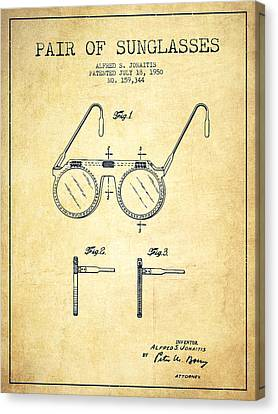 Sunglasses Patent From 1950 - Vintage Canvas Print by Aged Pixel