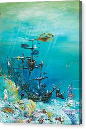 Sunken Ship Habitat Canvas Print by John Garland  Tyson