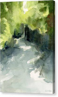 Sunlight And Foliage Conservatory Garden Central Park Watercolor Painting Canvas Print by Beverly Brown Prints