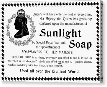 Sunlight Soap Ad, 1896 Canvas Print by Granger