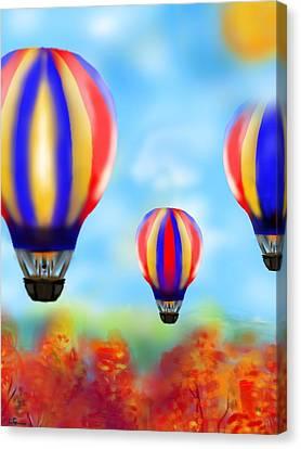 Sunny Balloon Ride Canvas Print by Christine Fournier