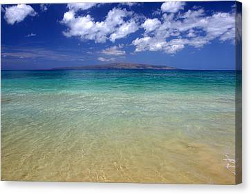 Sunny Blue Beach Makena Maui Hawaii Canvas Print by Pierre Leclerc Photography