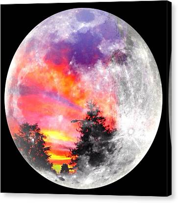 Sunrise And Full Moon Canvas Print by Anne Thurston