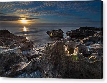 Sunrise At Coral Cove Park In Jupiter Canvas Print by Andres Leon