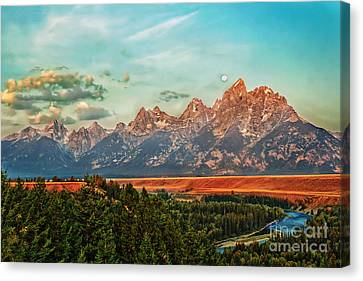Sunrise At Grand Tetons Canvas Print by Robert Bales
