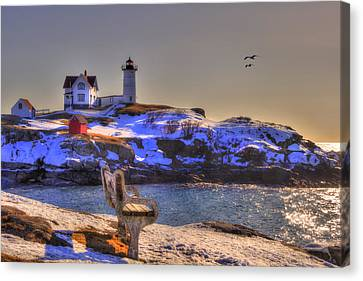 Sunrise At Nubble Lighthouse - Cape Neddick - York Maine Canvas Print by Joann Vitali