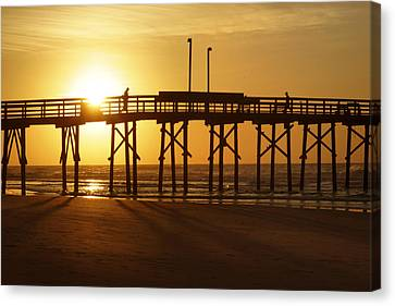 Sunrise At The Jolly Roger Pier 2 Canvas Print by Mike McGlothlen