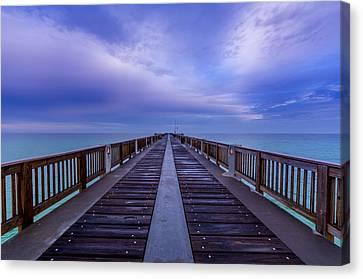 Sunrise At The Panama City Beach Pier Canvas Print by David Morefield