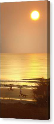 Sunrise At Topsail Island Panoramic Canvas Print by Mike McGlothlen