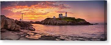 Sunrise Behind Cape Neddick  Canvas Print by Scott Lynde