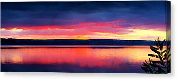 Sunrise In Cayuga Lake Ithaca New York Panoramic Photography Canvas Print by Paul Ge
