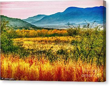 Sunrise In Verde Valley Arizona Canvas Print by Bob and Nadine Johnston