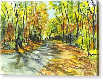 Sunrise On A Shady Autumn Lane Canvas Print by Carol Wisniewski
