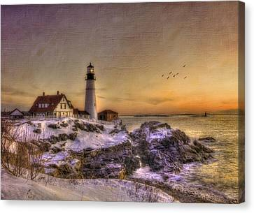 Sunrise On Cape Elizabeth - Portland Head Light - New England Lighthouses Canvas Print by Joann Vitali