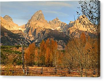 Sunrise On The Grand Tetons Canvas Print by Donna Kennedy