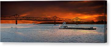 Sunrise On The Illinois River Canvas Print by Thomas Woolworth