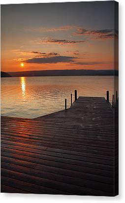Sunrise Over Keuka Vii Canvas Print by Steven Ainsworth