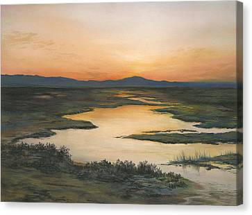 Sunrise Over Oakland Hills Canvas Print by Martha J Davies