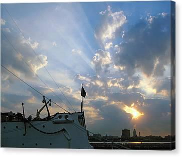 Sunrise Over Philadelphia  Canvas Print by Shoal Hollingsworth