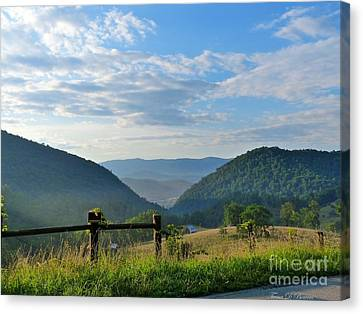 Sunrise Over Sugar Grove Canvas Print by Teena Bowers