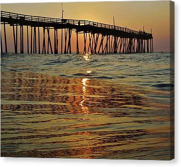 Sunrise Reflection Melting Avon Pier Canvas Print by Mark Lemmon