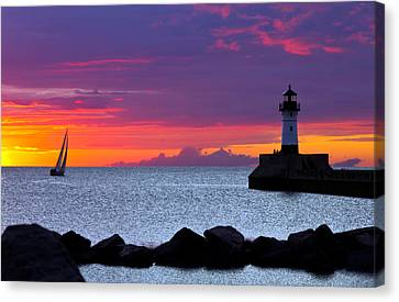 Sunrise Sailing Canvas Print by Mary Amerman