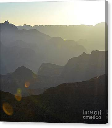 Sunrise Silhouettes With Lens Flare In Grand Canyon National Park Square Canvas Print by Shawn O'Brien