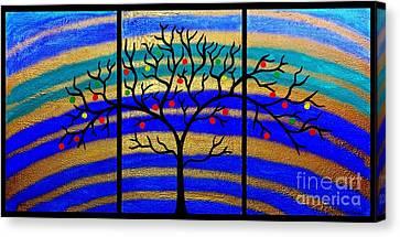 Sunrise Tree - Abstract Oil Painting Original Metallic Gold Textured Modern Contemporary Art Canvas Print by Emma Lambert