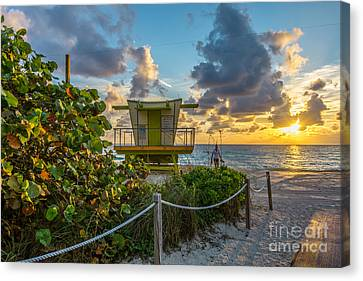 Sunrise Workout Return - Lifeguard Station - Miami Beach Canvas Print by Ian Monk