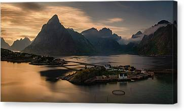 Sunset Above Sakrisoya Village Canvas Print by Panoramic Images