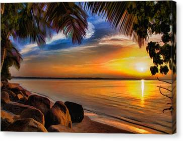 Sunset After The Storm Canvas Print by Rene Rosado