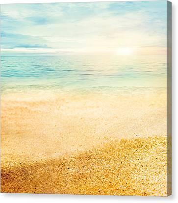 Sunset And  Fine Sand Canvas Print by Mythja  Photography