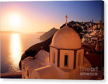 Sunset And Orthodox Church Canvas Print by Aiolos Greek Collections