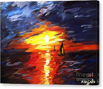 Sunset And Sails Canvas Print by Michael Grubb