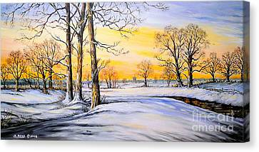Sunset And Snow Canvas Print by Andrew Read
