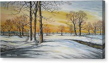 Sunset And Snow Sold Canvas Print by Andrew Read
