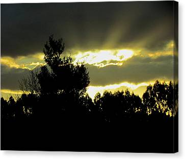Sunset And Storm Clouds Canvas Print by Joyce Woodhouse
