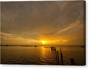 Sunset At A Weathered Pier At Port Charlotte Harbor Near Punta  Canvas Print by Fizzy Image