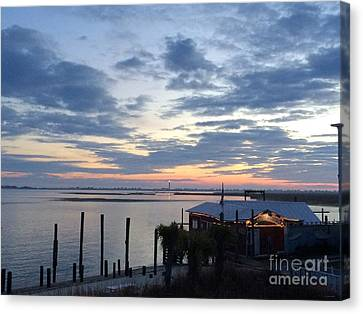 Sunset At American Fish Co       Safe Havens Ivans In Southport Nc Canvas Print by Shelia Kempf
