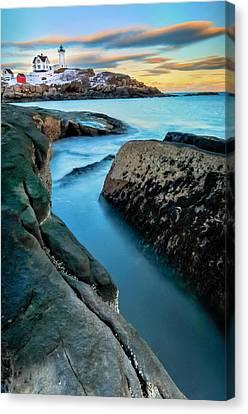 Sunset At Cape Neddick Light- Maine Canvas Print by Thomas Schoeller