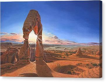 Sunset At Delicate Arch Utah Canvas Print by Richard Harpum
