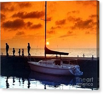 Sunset At Egg Harbor Dock Wisconsin Canvas Print by ImagesAsArt Photos And Graphics
