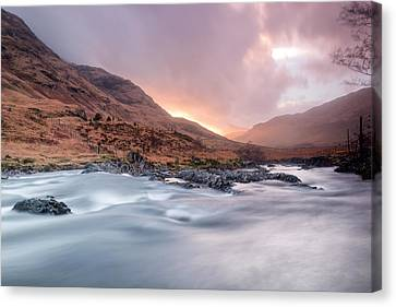 Sunset At Glen Etive Canvas Print by Chris Frost