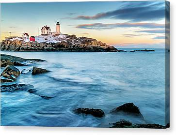 Sunset At Nubble Light-cape Neddick Maine Canvas Print by Thomas Schoeller