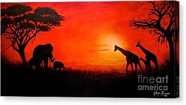 Sunset At Serengeti Canvas Print by Sher Nasser