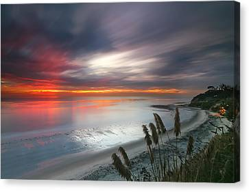 Sunset At Swamis Beach 4 Canvas Print by Larry Marshall
