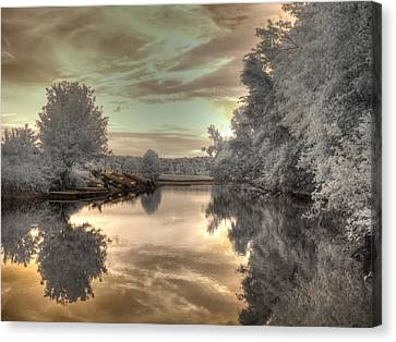 Sunset At The Boathouse Canvas Print by Jane Linders