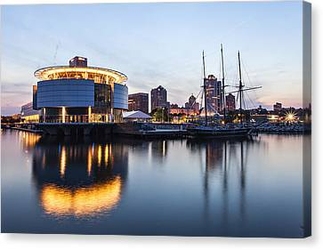 Sunset At The Dock Canvas Print by CJ Schmit