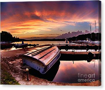 Sunset At The Marina Canvas Print by Mark Miller