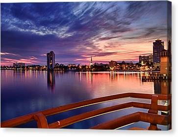 Sunset Balcony Of The West Palm Beach Skyline Canvas Print by Debra and Dave Vanderlaan